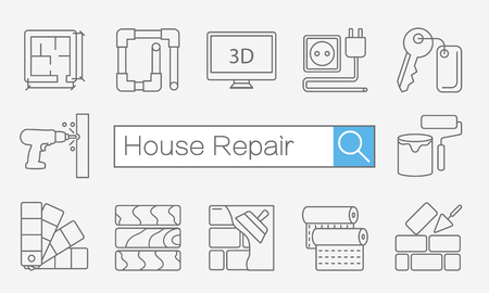 icons site search: Vector concept of title site page or banner with search bar and thin line icons on desktop for home improvement website includes objects for finishing works, renovation and building elements.