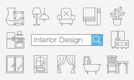 Vector concept de page ou bannière site titre avec barre de recherche et d'icônes de lignes fines sur le bureau pour le site de design d'intérieur comprend des meubles, des éléments de décoration et des symboles de conception lumière.