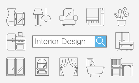 interior layout: Vector concept of title site page or banner with search bar and thin line icons on desktop for interior design website includes furniture, decor elements and light design symbols.