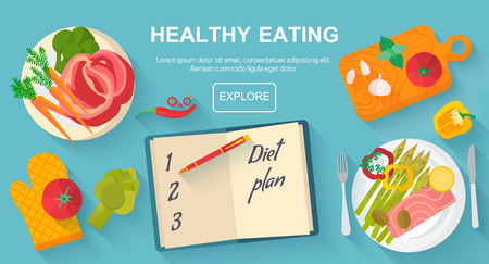 Diet and healthy eating food concept. Vector flat design icons elements isolated on white background. Healthy food. Food, diet, healthy lifestyle and weight loss banner concept.  イラスト・ベクター素材