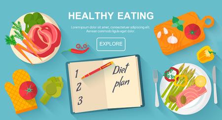 dieta sana: La dieta y el concepto de alimentación saludable alimentos. Vector los iconos del diseño plana elementos aislados sobre fondo blanco. Comida sana. Comida, dieta, estilo de vida saludable y la bandera del concepto de pérdida de peso.