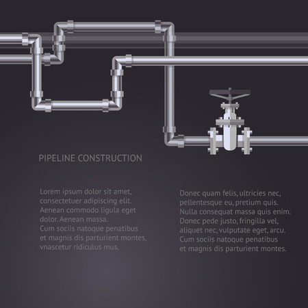 Abstracte buizen achtergrond met platte ontworpen pijpleiding en afsluiter op de buis. Concept voor web nieuwsbrieven water, afvalwater of oliepijpleiding industrie. Vector Illustratie