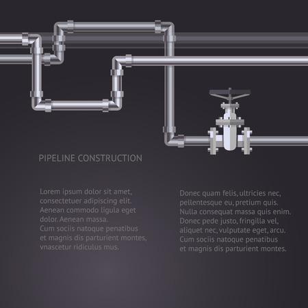Résumé de fond avec des tuyaux plat conçu pipeline et la valve sur le tuyau. Concept pour les bulletins Web de l'eau, des eaux usées ou de l'industrie de l'oléoduc. Vecteurs