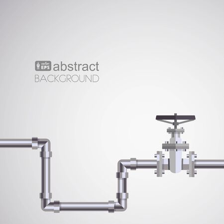 Abstract pipe background with flat designed pipeline and valve on pipe . Concept for web newsletters water, wastewater or oil pipeline industry. Vetores