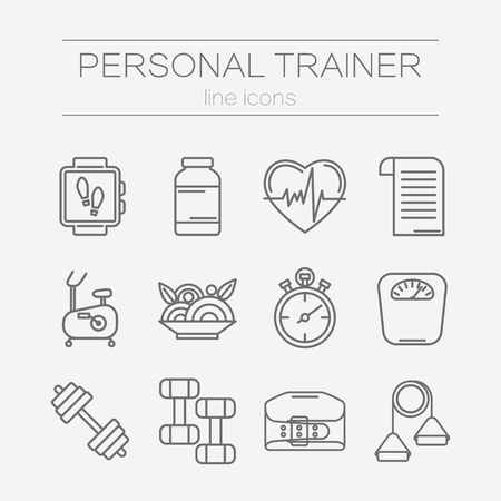 trainers: set of modern flat line icons for personal trainer program includes sports equipment,  objects for gym training, bodybuilding and active lifestyle. Fitness elements isolated on background.