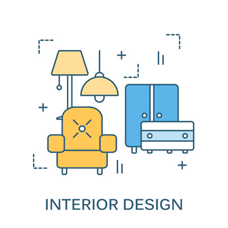 interior decor: Thin line flat design for interior design website with line icons furniture, decor elements. Modern illustration concept, isolated on white. Flat line design for website element and Web Banner. Illustration