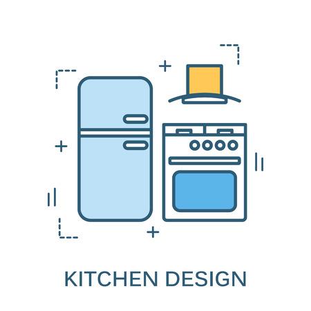 Dünne Linie flache Design der Küche Design Banner. Moderne Illustration Konzept, isoliert auf weißem Hintergrund. Vektorgrafik