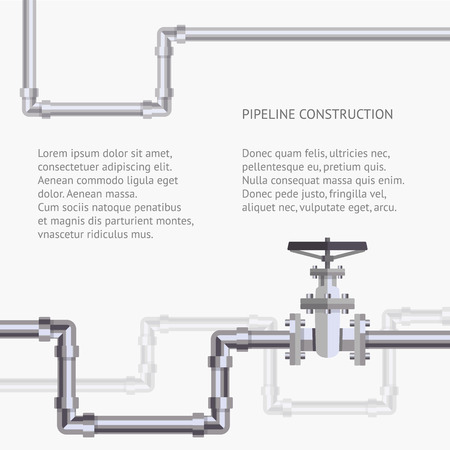oil pipeline: Abstract background with flat designed pipeline and valve on pipe . Concept for web newsletters water, wastewater or oil pipeline industry. Illustration