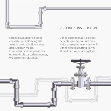 Résumé de fond avec plat conçu pipeline et la valve sur le tuyau. Concept pour les bulletins Web de l'eau, des eaux usées ou de l'industrie de l'oléoduc.