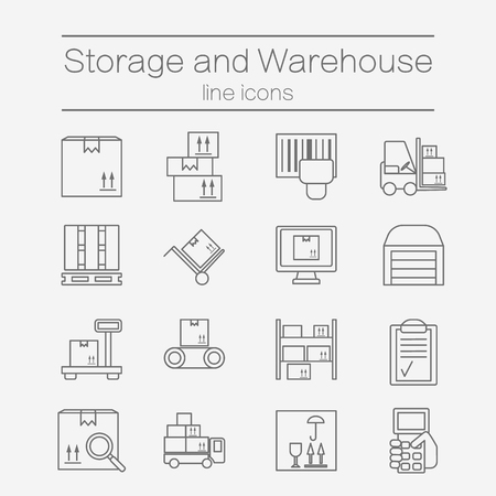 storage unit: Big set of modern thin line icons for warehouse stock and industrial storage isolated on background.