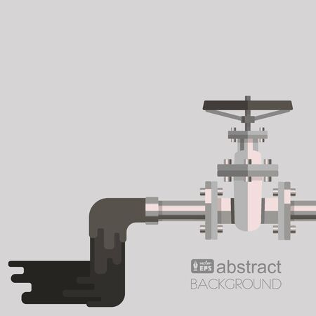 stop gate valve: Background water pollution with pipe, valve on the pipe and waste water flowing out from pipe. Vector flat design illustration.