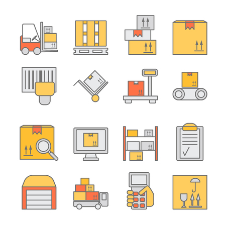 order shipment: Big set of modern thin line color icons for warehouse stock and industrial storage isolated on background. Vector illustration Illustration