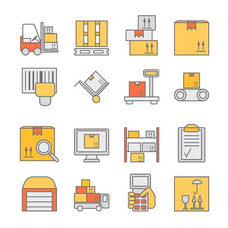 Gran conjunto de iconos de color de línea delgada modernas para el stock de almacén y el almacenamiento industrial aislada en el fondo. ilustración vectorial