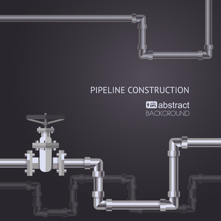 Abstract pipes background with flat designed pipeline and valve on pipe