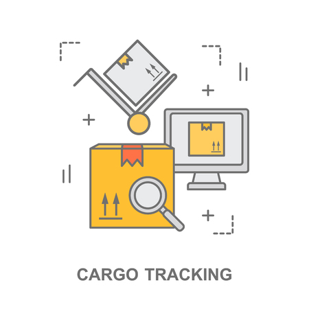 Thin line flat design banner for cargo tracking, warehouse stock and industrial storage. Illustration