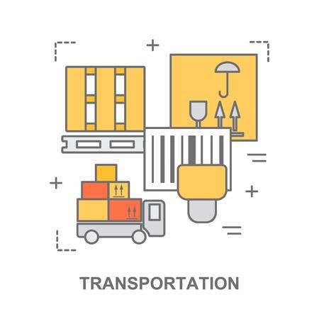 delgada línea bandera plana para el transporte, stock de almacén y el almacenamiento industrial.