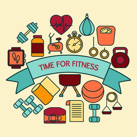 bandera de fitness programa de entrenador personal para incluye artículos deportivos, objetos para el entrenamiento de la gimnasia, musculación y estilo de vida activo.