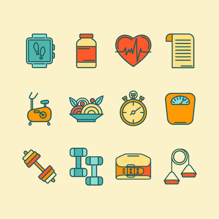 sports training: set of color flat line icons for personal trainer program includes sports equipment, objects for gym training, bodybuilding and active lifestyle. Fitness elements isolated on background.