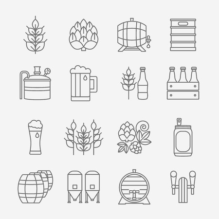 Big set of modern thin line icons of brewery icons and different beer symbols for pub, bar or other brewing related business isolated on background.