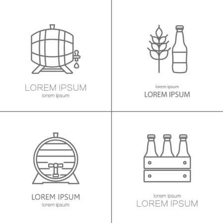 Big Set Of Modern Thin Line Icons Of Brewery Icons And Different