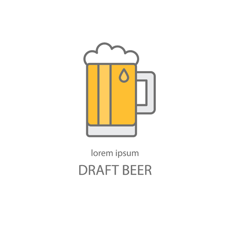 Modern easy to edit line style template with traditional beer mug