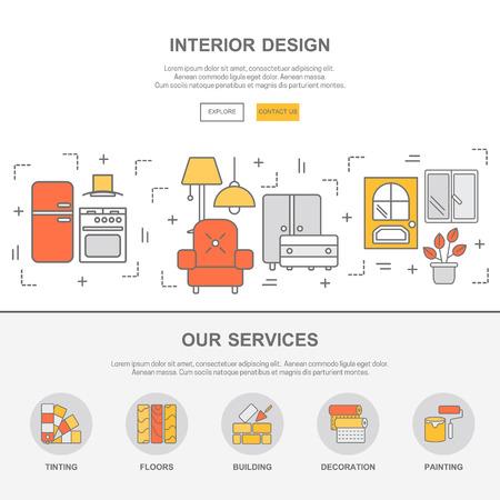plantilla de diseño web con iconos de líneas delgadas de diseño de interiores. Diseño plano concepto de imagen gráfica, diseño de elementos del sitio web.