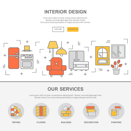Web design template with thin line icons of interior design. Flat design graphic image concept, website elements layout.