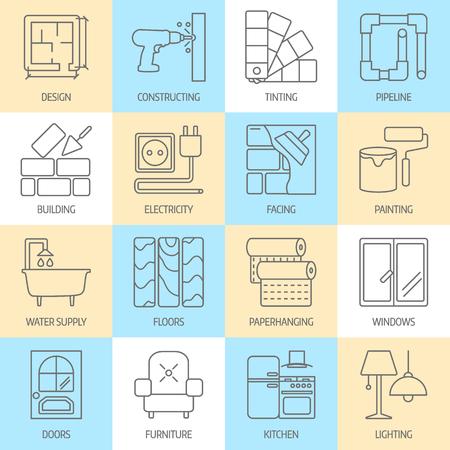 conjunto de iconos de líneas planas modernas para el sitio web incluye mejoras para el hogar objetos para el acabado de elementos de obra, de renovación y de construcción. Iconos del diseño de interiores aislados en blanco. Vectores