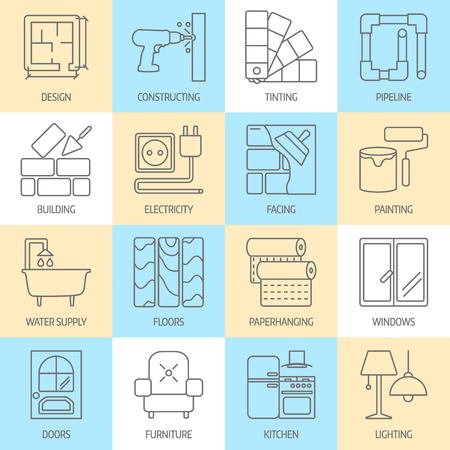 set of modern flat line icons for home improvement website includes objects for finishing works, renovation and building elements . Interior design icons isolated on white. Ilustração