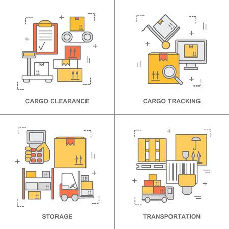 línea delgada planos de diseño para banners stock en almacén y el almacenamiento industrial. Ilustración del concepto moderno, aislado en blanco.