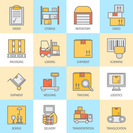 storage: Big set of modern thin line color icons for warehouse stock and industrial storage isolated on background.