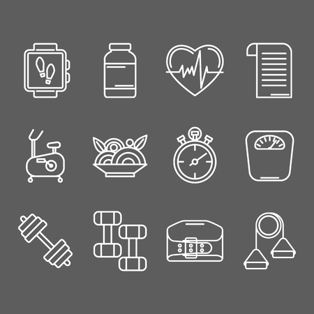 trainers: set of line icons for personal trainer program includes sports equipment,  objects for gym training, bodybuilding and active lifestyle. Fitness elements isolated on dark background.
