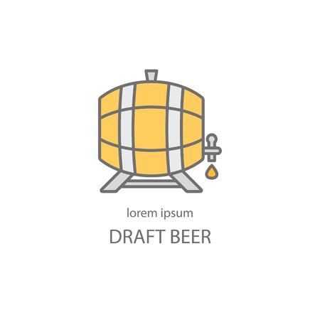 Barril de madera con un icono de la línea del grifo. las plantillas de diseño de cerveza o vino para todo tipo de empresas relacionadas con la cerveza.