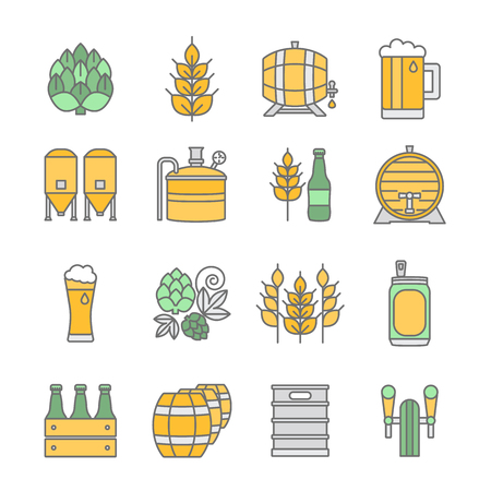 Big set of color thin line icons of brewery and different beer symbols for pub, bar or other brewing related business isolated on background.