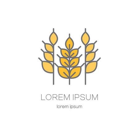 plantilla de estilo de línea con espigas de trigo