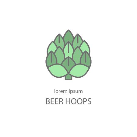 Hop cerveza artesanal. Etiqueta, emblema o insignia de la plantilla.