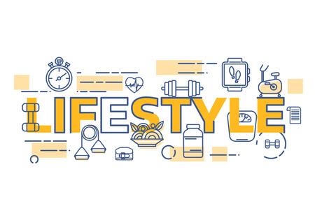 健康的なライフ スタイルのバナーのコンセプトです。ライフ スタイルという言葉の細い線フラット デザインのバナー。  イラスト・ベクター素材