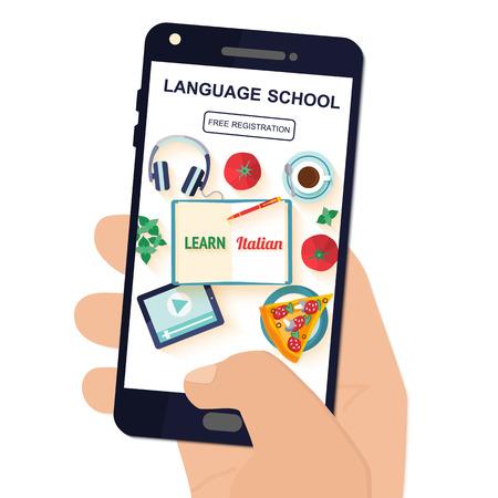 aplicación de plantilla en el teléfono para el estudio de la lengua italiana.