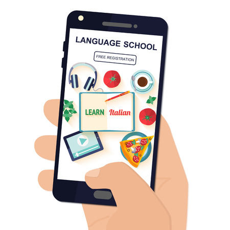Template application in your phone for the study of the Italian language.