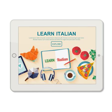 aplicación de plantilla en su tableta para el estudio de la lengua italiana. Vectores