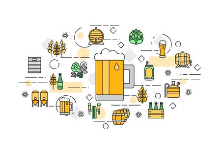delgada línea bandera diseño plano para la fábrica de cerveza y cerveza festival de octubre. Diseño web y el marketing por correo electrónico.