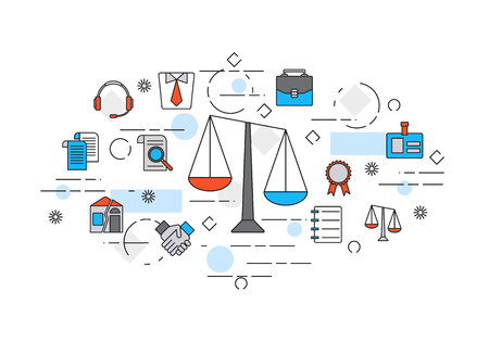 Thin line flat design banner of legal advice, law firm or juristical company includes Themis icons. Illustration