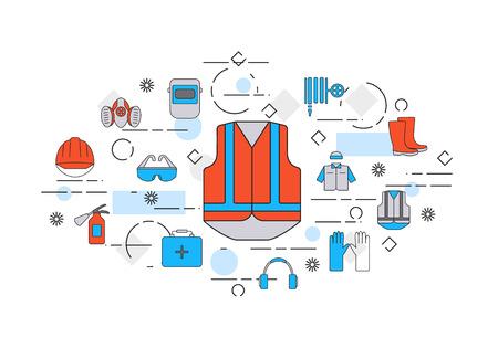 línea delgada diseño plano estandarte de trabajo de seguridad que incluye herramientas y elementos de protección. Diseño web y el marketing por correo electrónico.