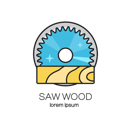 Saw wood design templates. Wood work and manufacture label. Woodworking badge for your business. Illustration