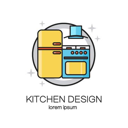 Cocina de línea diseño de la plantilla del icono del Web