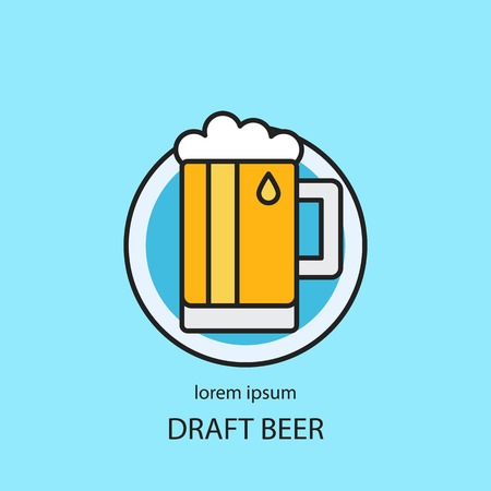 Modern easy to edit line style template with traditional beer mug. Illustration