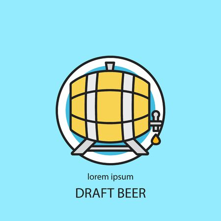 wooden barrel: Wooden barrel with a tap line icon.