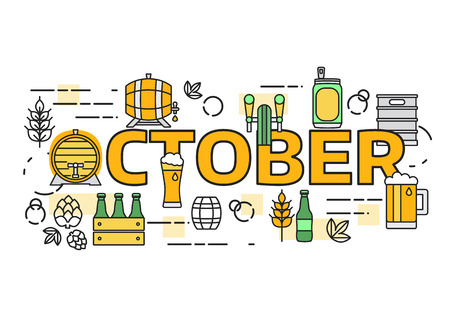 Thin line flat design banner for beer brewery and beer October festival. Webdesign and Email marketing. Illustration