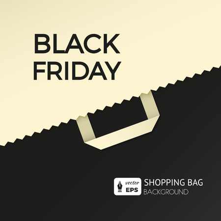 web shopping: Flat design vector illustration with shopping bag. Black friday concept background for newsletters online stores, web sites banners of shopping, discount, e-commerce, online shopping, sale. Illustration