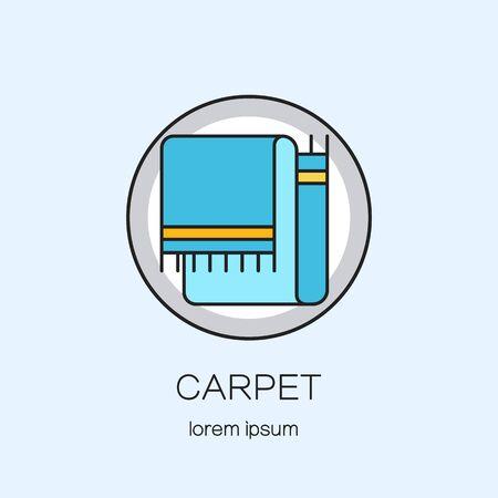 Tapijten winkel DIY lijn pictogram logo design templates. Moderne gemakkelijk te logo sjabloon te bewerken. Vector logo design serie. Stock Illustratie